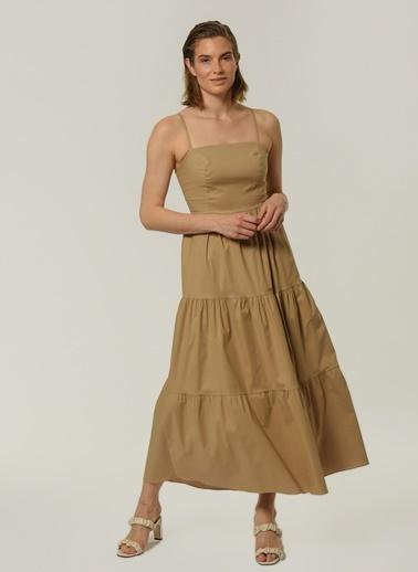 People By Fabrika Kadın Askılı Maxi  Elbise PFKSS21EL0156 Bej